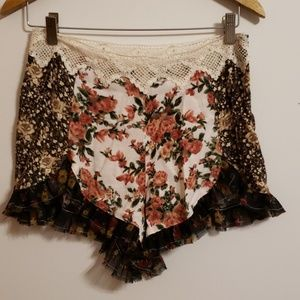 Free People Floral Lace Frilly Short...2